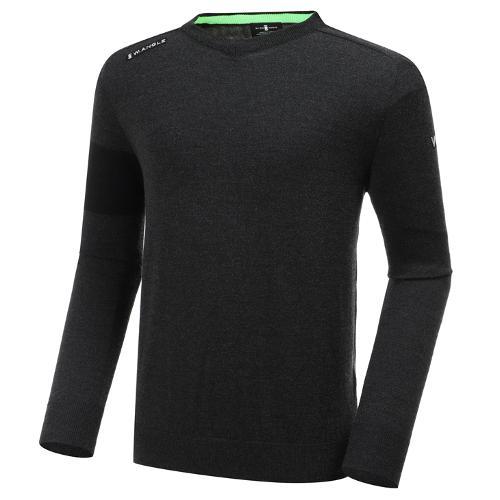 [와이드앵글] 남성 ELITE 피레티 워딩 V넥 긴팔 스웨터 M WMU20K02C8