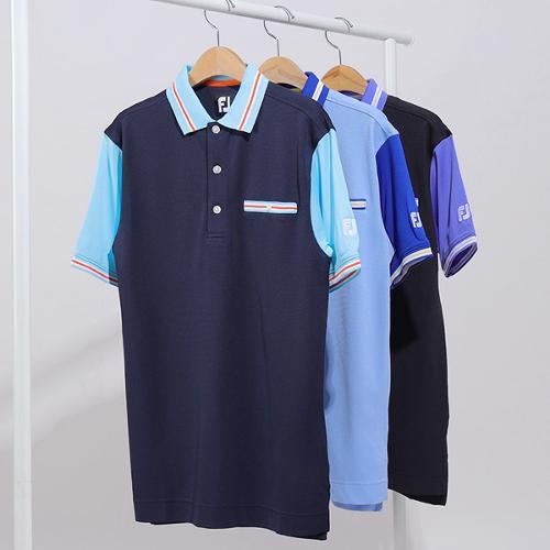 전시상품/풋조이 컬러 블록 카라 반팔 티셔츠