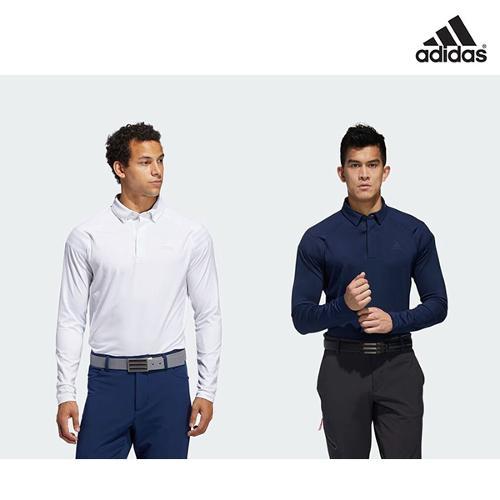 [아디다스골프 정품] 로고 테이프 남성 긴팔 폴로 골프티셔츠