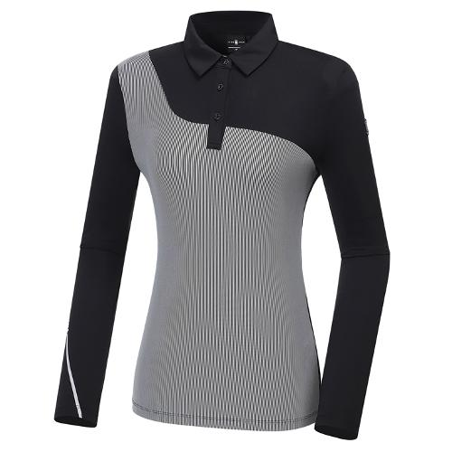 [와이드앵글] 여성 간절 스트라이프 카라 긴팔 티셔츠 L WWU20241Z1