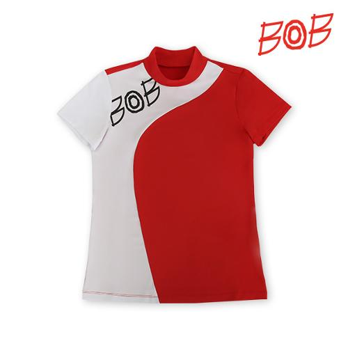 BOB 여성 로고 배색 반폴라 티셔츠 - GBM2TS750_RE