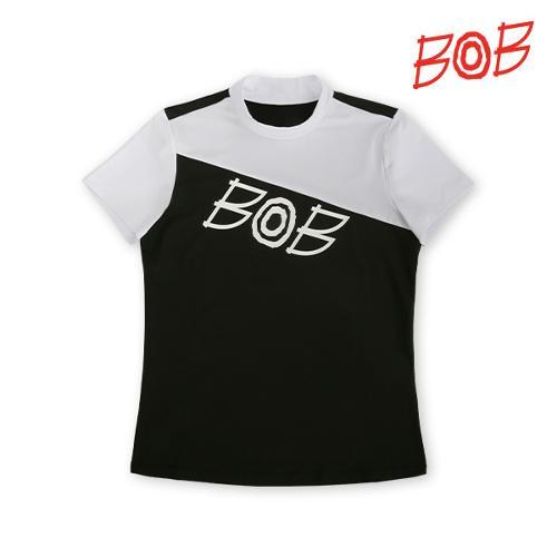 BOB 여성 빅로고 배색 반폴라 티셔츠 - GBM2TS740_BK