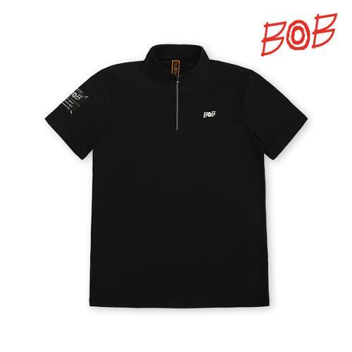 BOB 남성 로고포인트 반폴라 티셔츠 - GBM1TS750_BK