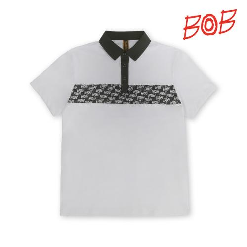 BOB 남성 로고포인트 배색 카라티셔츠 - GBM1TS720_WH