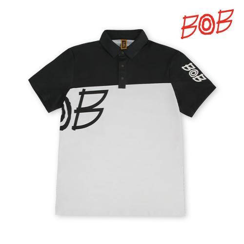 BOB 남성 로고 배색 카라티셔츠 - GBM1TS710_WH