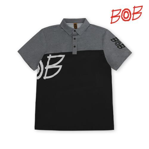 BOB 남성 로고 배색 카라티셔츠 - GBM1TS710_BK