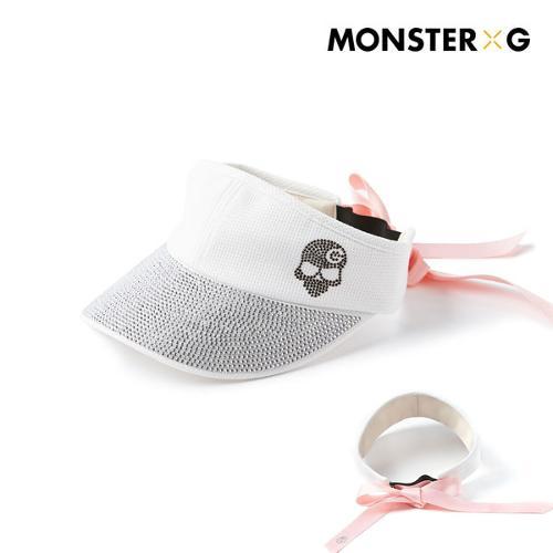 [몬스터지] 골프 데일리 크리스탈 에디션 블랙 스와로브스키 시그니처 썬캡 모자