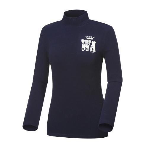 [와이드앵글] 여성 컬러블럭 기모 하이넥 긴팔 티셔츠 WWW18231N4