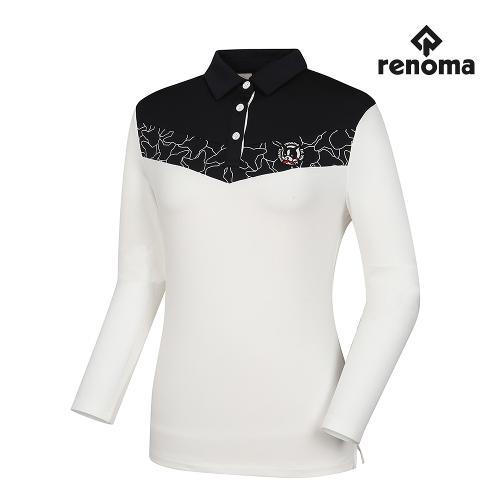 [레노마골프]여성 상단 배색 카라 티셔츠 RWTYH7113-100_G