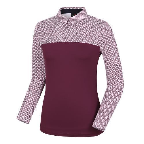 [레노마골프]여성 패턴 배색 카라 반집업 티셔츠 RWTYH7106-415_G
