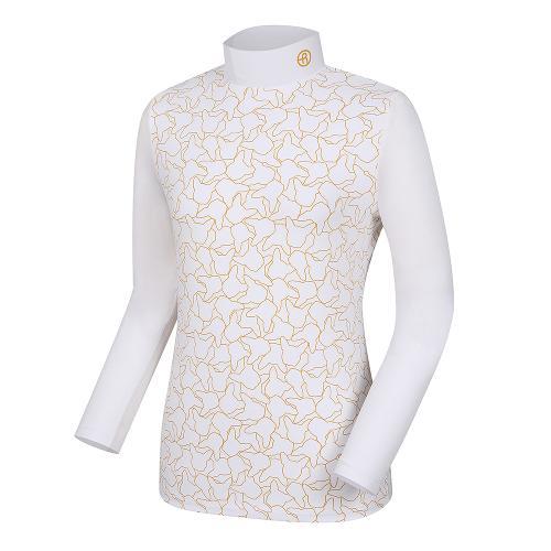 [레노마골프]여성 프렌치독 프린트 하이넥 티셔츠 RWTHH7103-100_G