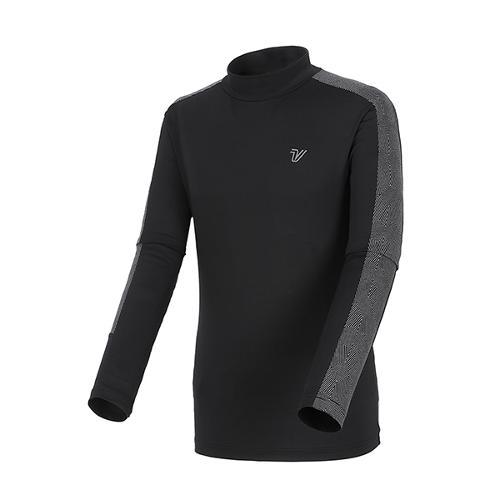 [볼빅골프웨어] 남성 골프 패턴 배색 반폴라 긴팔 티셔츠 VMTSL206_BK