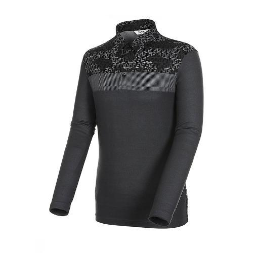 [볼빅골프웨어] 남성 골프 기모 로고 카라 긴팔 티셔츠 VMTSK804_BK
