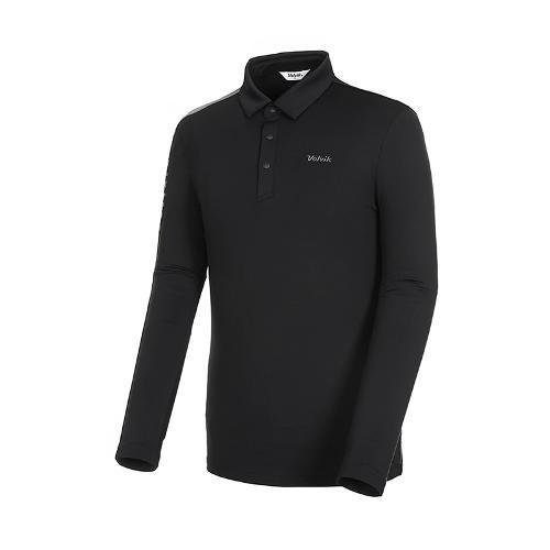 [볼빅골프웨어] 남성 골프 비비드 카라 긴팔 티셔츠 VMTSK910_BK