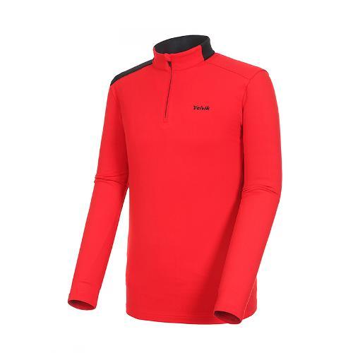[볼빅골프웨어] 남성 골프 숄더 배색 반집업 긴팔 티셔츠 VMTSK905_RE