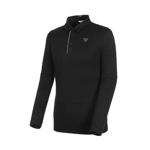 [볼빅골프웨어] 남성 골프 자카드 카라 긴팔 티셔츠 VMTSK906_BK