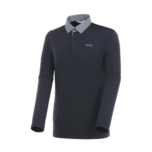 [볼빅골프웨어] 남성 골프 배색 카라 긴팔 티셔츠 VMTSK993_BK