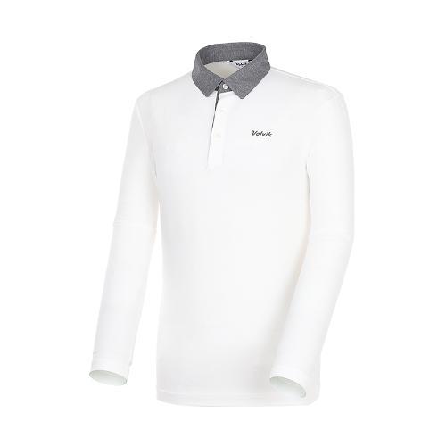 [볼빅골프웨어] 남성 골프 배색 카라 긴팔 티셔츠 VMTSK993_OW
