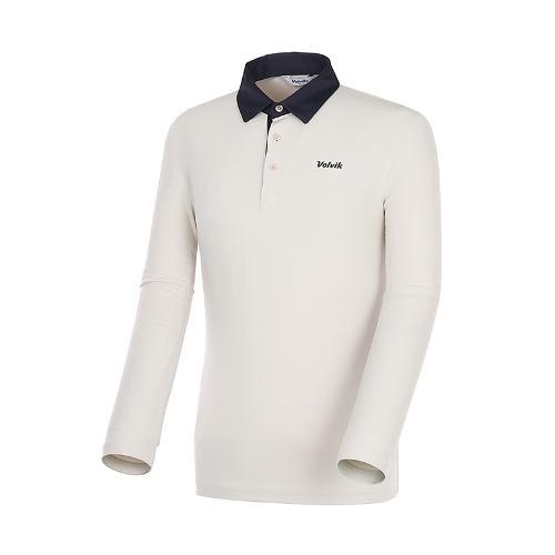 [볼빅골프웨어] 남성 골프 배색 카라 긴팔 티셔츠 VMTSK993_BE