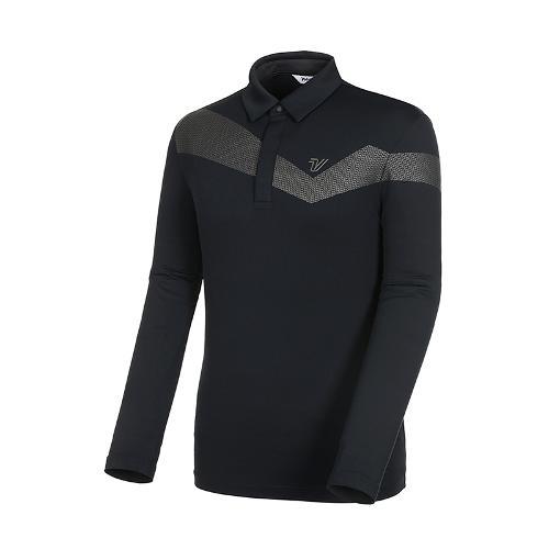 [볼빅골프웨어] 남성 골프 쿨링 UV차단 카라 긴팔 티셔츠 VMTSK805_BK