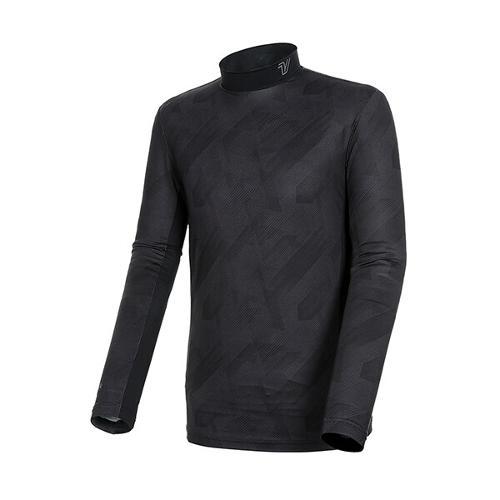 [볼빅골프웨어] 남성 골프 시즌 라인 패턴 반폴라 긴팔 티셔츠 VMTSK202_BK