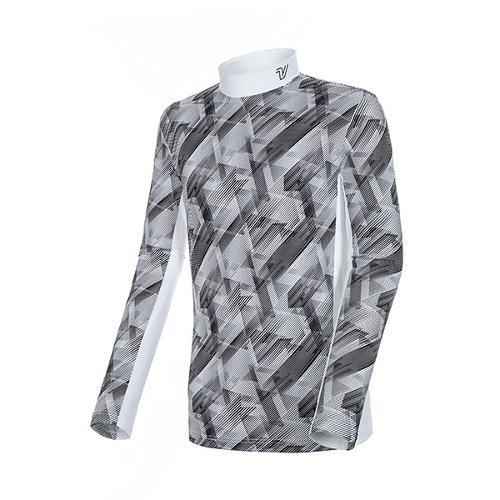 [볼빅골프웨어] 남성 골프 시즌 라인 패턴 반폴라 긴팔 티셔츠 VMTSK202_WH