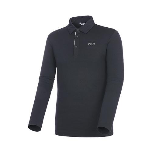 [볼빅골프웨어] 남성 골프 솔리드 카라 긴팔 티셔츠 VMTSKD81_BK