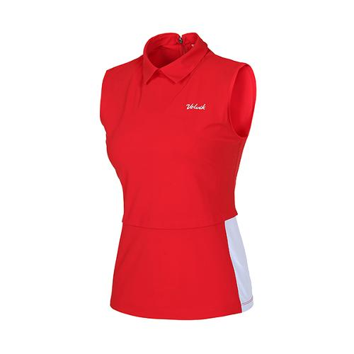 [볼빅골프웨어] 여성 골프 UV차단 배색 슬리브리스 티셔츠 VLTSI353_RE