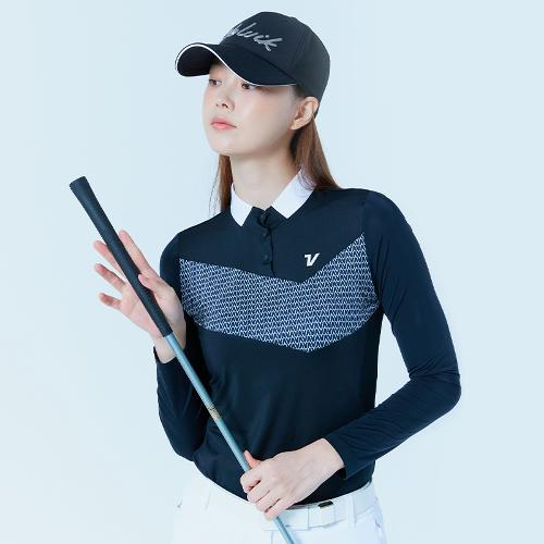 [볼빅골프웨어] 여성 골프 쿨스윙 냉감 소매 카라 티셔츠 VLTSL306_BK