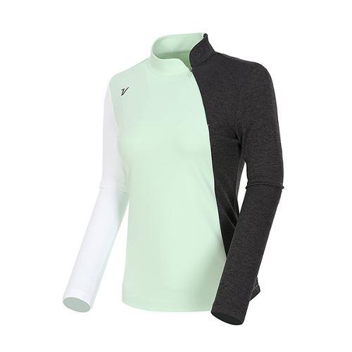 [볼빅골프웨어] 여성 골프 컬러블럭 반집업 긴팔 티셔츠 VLTSL205_LE