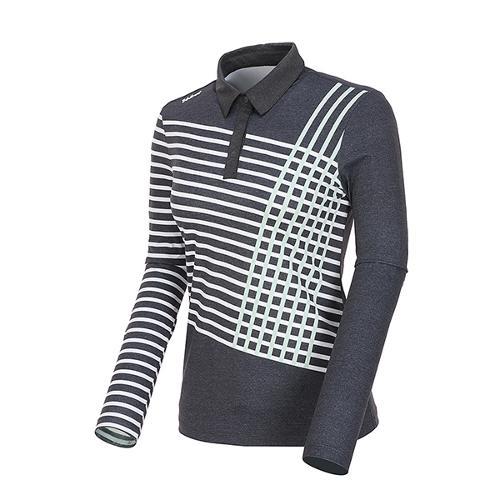 [볼빅골프웨어] 여성 골프 스트라이프 카라 긴팔 티셔츠 VLTSL202_MG