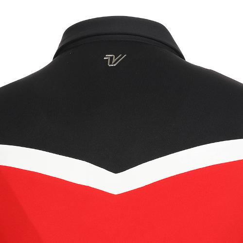 [볼빅골프웨어] 여성 골프 쉐브론 컬러블럭 카라 긴팔 티셔츠 VLTSK902_RE