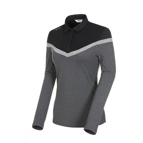 [볼빅골프웨어] 여성 골프 쉐브론 컬러블럭 카라 긴팔 티셔츠 VLTSK902_MG