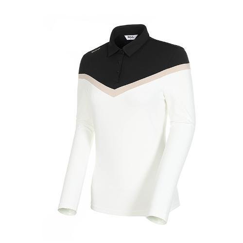 [볼빅골프웨어] 여성 골프 쉐브론 컬러블럭 카라 긴팔 티셔츠 VLTSK902_OW
