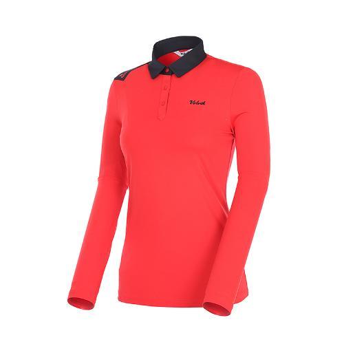 [볼빅골프웨어] 여성 골프 배색 카라 긴팔 티셔츠 VLTSK993_RE