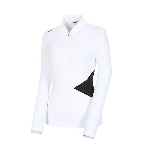 [볼빅골프웨어] 여성 골프 UV차단 배색 반집업 긴팔 티셔츠 VLTSK802_OW