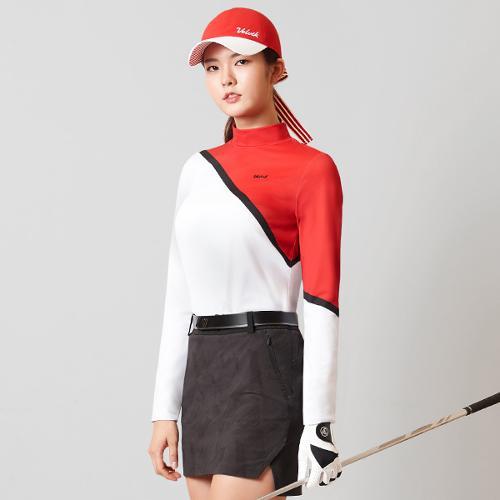 [볼빅골프웨어] 여성 골프 컬러블럭 반폴라 긴팔 티셔츠 VLTSK204_RE