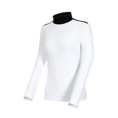 [볼빅골프웨어] 여성 골프 리브드 반폴라 긴팔 티셔츠 VLTSK203_WH