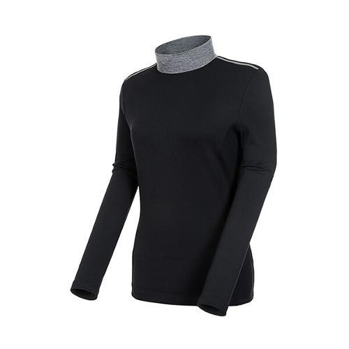 [볼빅골프웨어] 여성 골프 리브드 반폴라 긴팔 티셔츠 VLTSK203_BK