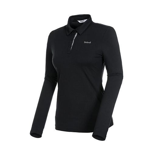 [볼빅골프웨어] 여성 골프 로고 제에리 카라 긴팔 티셔츠 VLTSKD81_BK