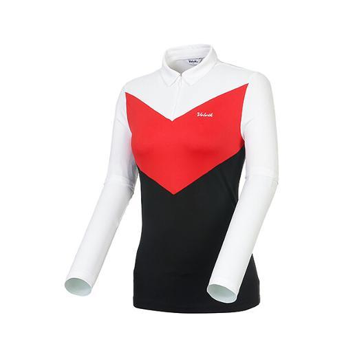 [볼빅골프웨어] 여성 골프 로고 컬러블럭 카라 긴팔 티셔츠 VLTSK206_RE