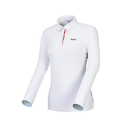 [볼빅골프웨어] 여성 골프 라인 배색 카라 긴팔 티셔츠 VLTSK201_WH