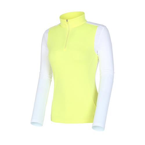 [볼빅골프웨어] 여성 골프 스트레치 배색 반집업 티셔츠 VLTSI202_YE