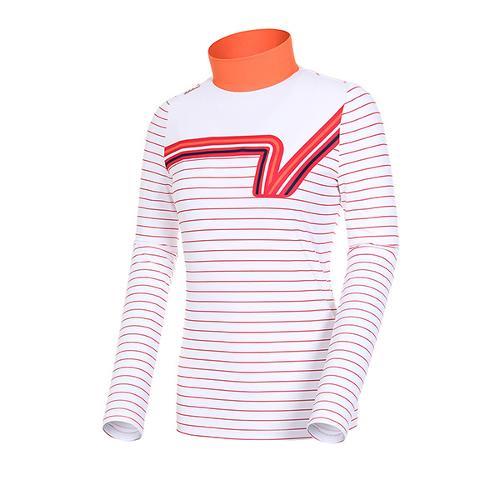 [볼빅골프웨어] 여성 골프 로고 포인트 스트라이프 반폴라 티셔츠 VLTSJ232_OR