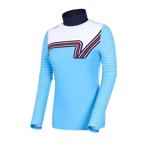 [볼빅골프웨어] 여성 골프 로고 포인트 스트라이프 반폴라 티셔츠 VLTSJ232_BL
