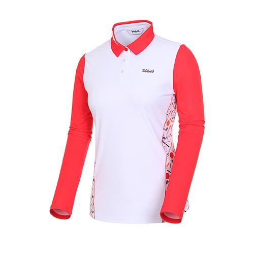 [볼빅골프웨어] 여성 골프 소매 배색 프린트 카라 긴팔 티셔츠 VLTSJ233_RE