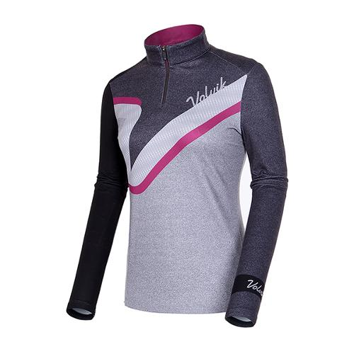 [볼빅골프웨어] 여성 골프 컬러 블록 반집업 코튼 티셔츠 VLTSIA01_MG