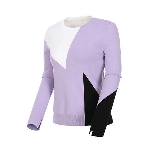 [볼빅골프웨어] 여성 골프 삼각패턴 라운드 니트 VLKTL204_PP