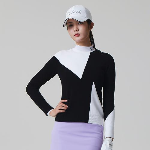 [볼빅골프웨어] 여성 골프 삼각패턴 라운드 니트 VLKTL204_BK