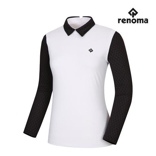 [레노마골프]여성 패턴 배색 카라 티셔츠 RWTYI7109-101_G